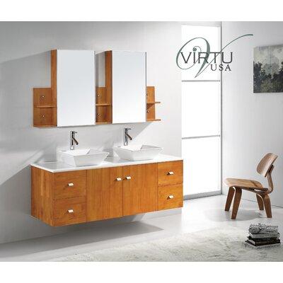 Virtu ultra modern 61 double clarissa bathroom vanity set with mirror reviews wayfair for Ultra bathroom vanities burbank