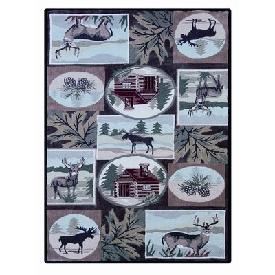 Linon Rugs Wilderness Olive/Beige Novelty Rug