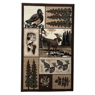 Linon Rugs Lodge 03 Wildlife Novelty Rug