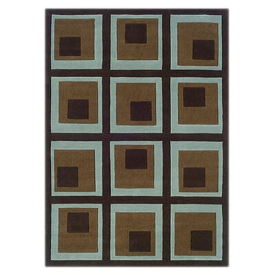 <strong>Linon Rugs</strong> Trio Blocks Chocolate/Spa Blue Rug