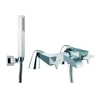 Fima by Nameeks Mp1 Double Handle Deck Mount Diveter/Thermostatic Bath Tub Faucet with Hand Shower