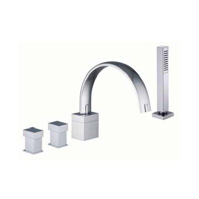 Fima by Nameeks Bio Shock Double Handle Deck Mount Thermostatic Tub Faucet with Hand Shower