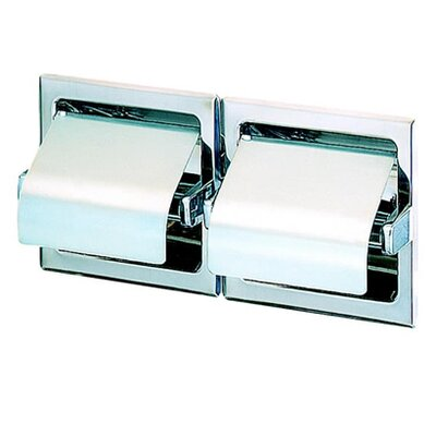 Geesa by Nameeks Standard Hotel Double Recessed Toilet Paper Holder with Cover in Stainless Steel