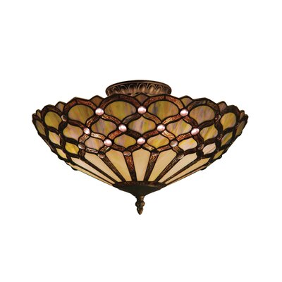 Landmark Lighting Jewel 3 Light Semi Flush Mount