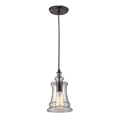 Menlow Park 1 Light Pendant with Clear Blown Glass