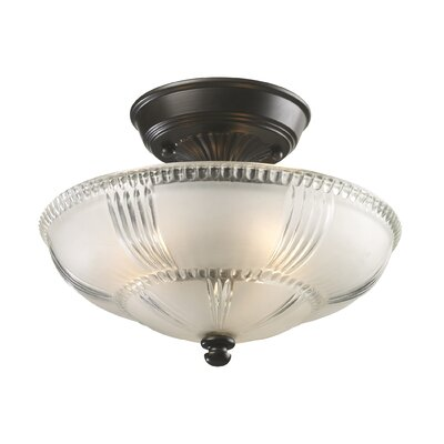 Landmark Lighting Restoration 3 Light Semi Flush Mount in Oiled Bronze
