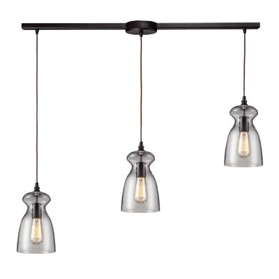 Menlow Park 60W 3 Light Pendant with Clear Glass