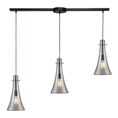 Menlow Park 75W 3 Light Pendant with Clear Blown Glass