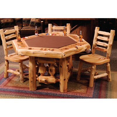 Cedar Log 6 Sided Poker Table Set