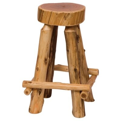 Traditional Cedar Log Round Pub Table and Outside Footrests Barstool Set