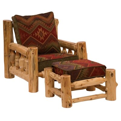 Fireside Lodge Traditional Cedar Log Chair and Ottoman
