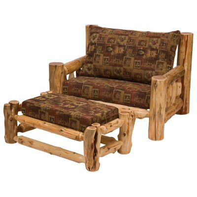 Fireside Lodge Traditional Cedar Log Chair and Ottoman