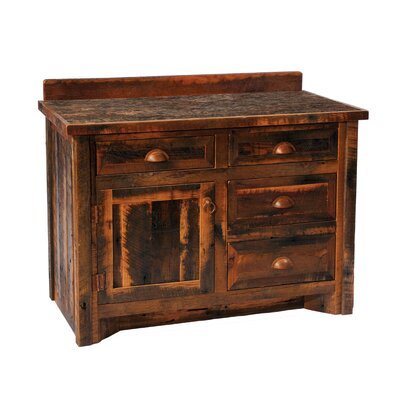 "Fireside Lodge Reclaimed Barnwood 36"" Bathroom Vanity Base"