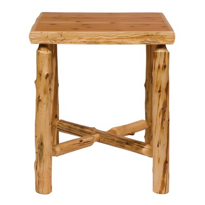 Fireside Lodge Traditional Cedar Log Square Pub Table and Outside Footrests Barstool Set