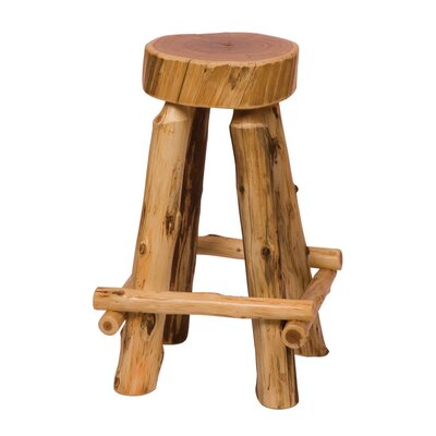 Traditional Cedar Log Slab Barstool with Outside Footrests
