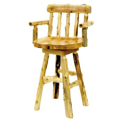 Fireside Lodge Traditional Cedar Log Square Pub Table and Barstool with Arms