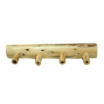 Traditional Cedar Log Coat Rack with Pegs