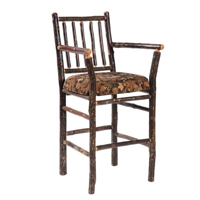 Fireside Lodge Hickory Pub Table and Upholstered Seat Barstool with Arms
