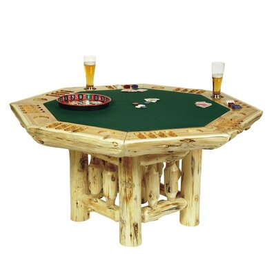 Fireside Lodge Traditional Cedar Log Poker Table Set
