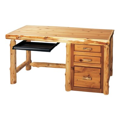 Traditional Cedar Log File Writing Desk with Keyboard Tray