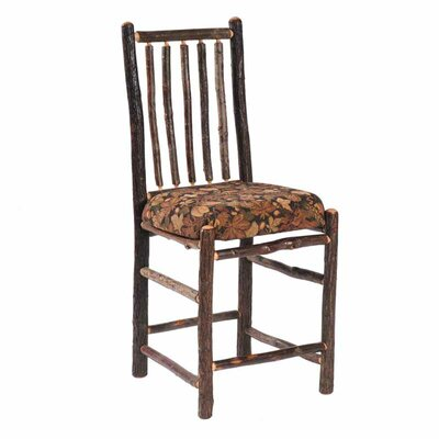 Fireside Lodge Hickory Armless Counter Fabric Side Chair