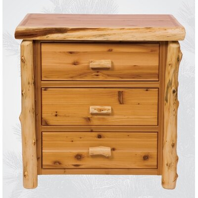 Traditional Cedar Log 3 Drawer Chest