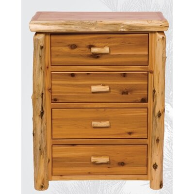 Traditional Cedar Log 4 Drawer Chest