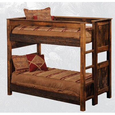Fireside Lodge Reclaimed Barnwood Bunk Bed with Built-In Ladder