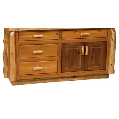 "Fireside Lodge Traditional Cedar Log 60"" Bathroom Vanity Base"