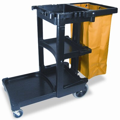 "Rubbermaid 45"" Commercial Multi-Shelf Cleaning Cart"