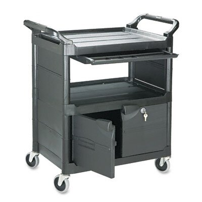 Rubbermaid Commercial Utility Cart with Locking Doors