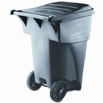 Rubbermaid Brute Rollout Waste Container, Square, Polyethylene, 95gal, Gray                                                             