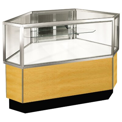 "Sturdy Store Displays Streamline 38"" x 42"" Half Vision Outside Corner Showcase with Panel Back"