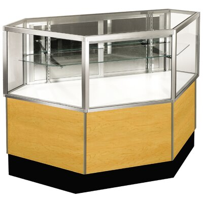 "Sturdy Store Displays Streamline 38"" x 42"" Half Vision Inside Corner Showcase with Panel Back"