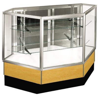 "Sturdy Store Displays Streamline 38"" x 42"" Full Vision Inside Corner Showcase with Panel Back"