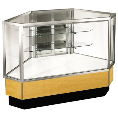 "Sturdy Store Displays Streamline 38"" x 34"" Full Vision Outside Corner Showcase with Mirror Back"