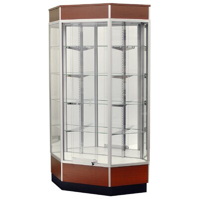 "Sturdy Store Displays Streamline 34"" x 18"" Front Opening Inside Corner Trophy Case with Panel Back"