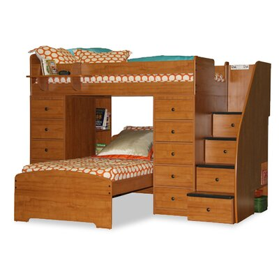 Berg Furniture Sierra Twin Space Saver L-Shaped Bunk Bed with Stairs and Storage (Twin over Twin)