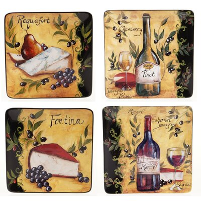 "Certified International Wine and Cheese Party 8.5"" Square Salad Plate (Set of 4)"