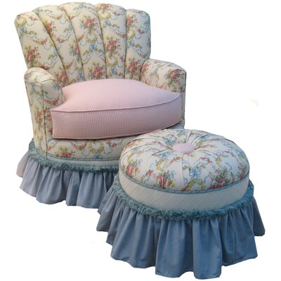 Blossoms and Bows Adult Princess Glider Rocker and Ottoman