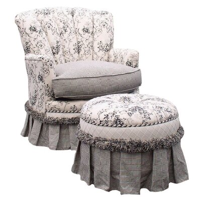 Toile Black Adult Princess Glider Rocker and Ottoman