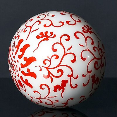 Jeffan Candace Decorative Ball in Red and White