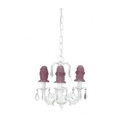 Stacked Glass Ball Chandelier with Pink Beaded Bulb Cover in White