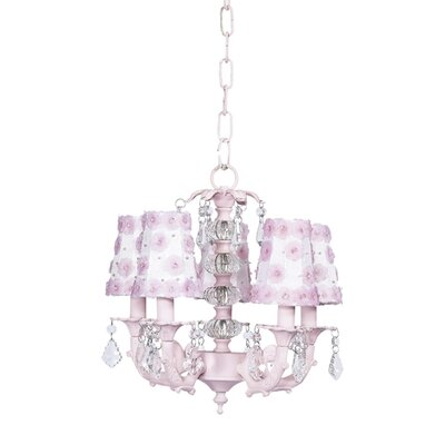 Stacked Glass Ball 5 Light Chandelier with Petal Flower Shades