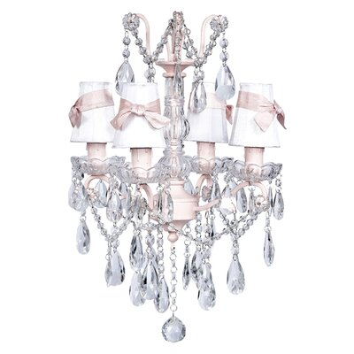 Jubilee Collection Crystal Glass Center 4 Light Chandelier with Plain Shade / Sash
