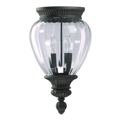 Quorum Dover  Outdoor Flush Mount in Charcoal