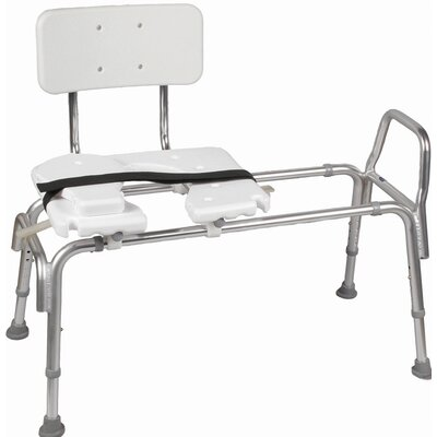 Briggs Healthcare Heavy Duty Adjustable Sliding Transfer Bench with Cut Out Seat