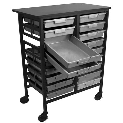 H. Wilson Company Mobile Work Center with Single Extra Wide Storage Trays
