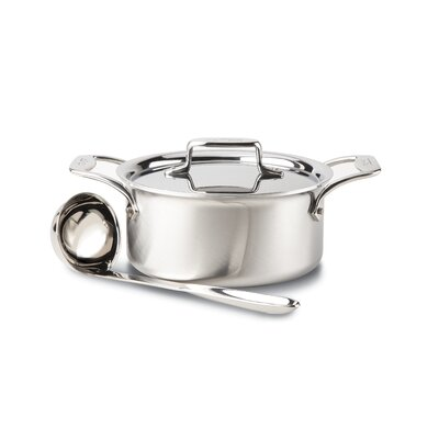 All-Clad d5 Brushed Stainless Steel 3-qt. Soup Pot with Lid and Ladle