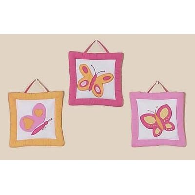 Sweet Jojo Designs Butterfly Pink and Orange Collection Wall Hangings